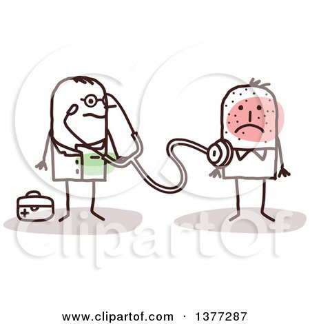 Clipart of a Male Stick Doctor Examining a Sick Patient - Royalty Free Vector Illustration by NL shop