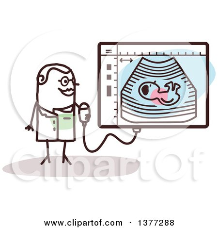Clipart of a Female Stick Doctor by an Ultrasound Screen - Royalty Free Vector Illustration by NL shop
