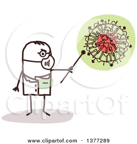 Clipart of a Male Stick Doctor Wearing a Mask and Discussing the H1N1 Virus - Royalty Free Vector Illustration by NL shop