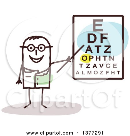Clipart of a Male Stick Eye Doctor by a Chart - Royalty Free Vector Illustration by NL shop