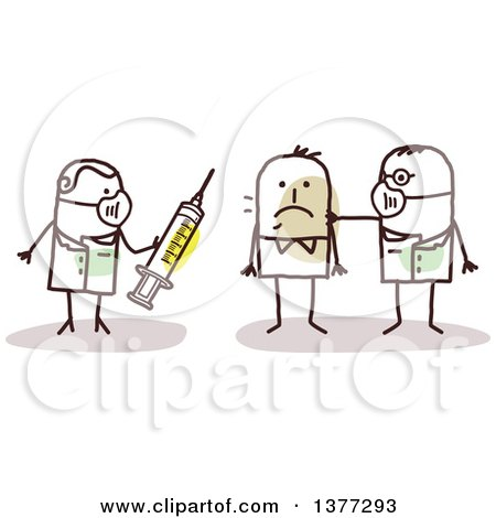 Clipart of Stick Male Doctors Treating a Contagious Man with a Vaccine - Royalty Free Vector Illustration by NL shop