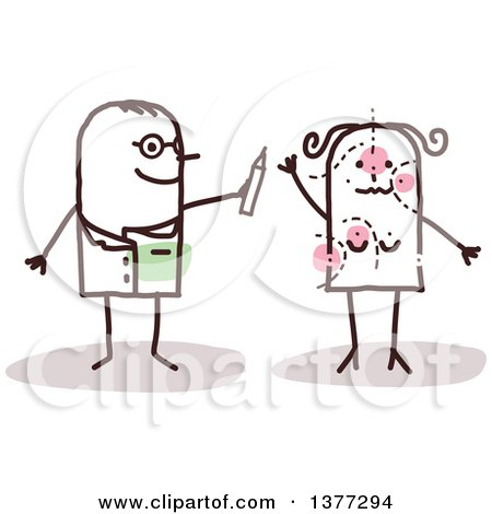 Clipart of a Stick Male Plastic Surgeon Doctor Drawing on a Female Patient - Royalty Free Vector Illustration by NL shop