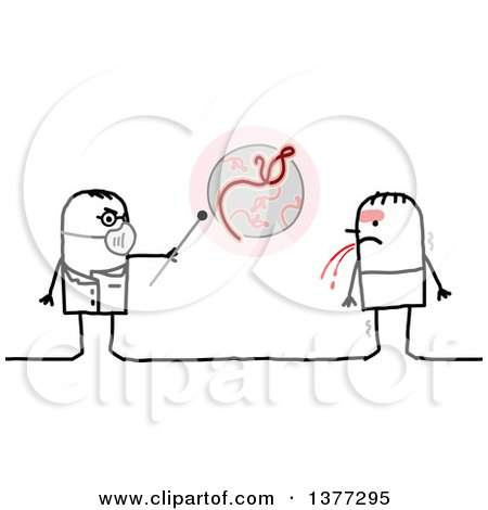 Clipart of a Stick Male Doctor Talking to a Patient with the Ebola Virus - Royalty Free Vector Illustration by NL shop