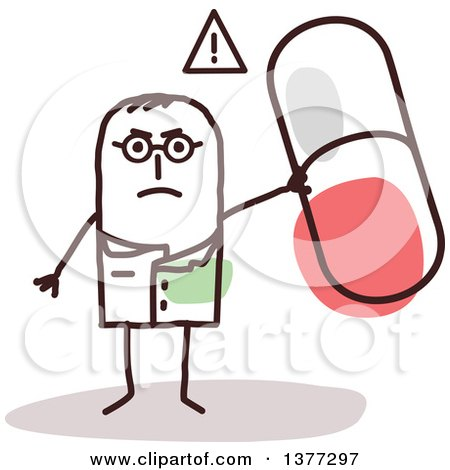 Clipart of a Mad Stick Male Doctor or Pharmacist Holding up a Pill - Royalty Free Vector Illustration by NL shop