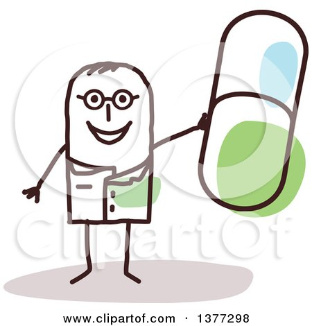 Clipart of a Stick Male Doctor or Pharmacist Holding up a Pill - Royalty Free Vector Illustration by NL shop