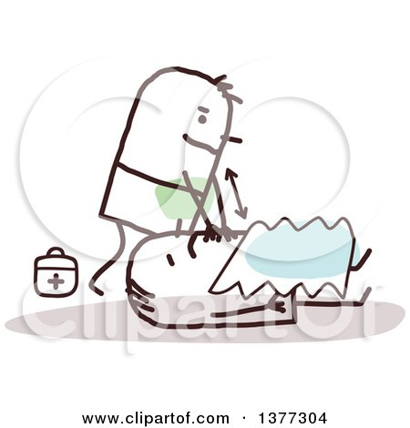 Clipart of a Stick Male Paramedic Working on a Patient - Royalty Free Vector Illustration by NL shop