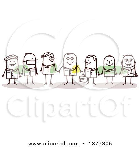 Clipart of Team of Stick Doctors - Royalty Free Vector Illustration by NL shop