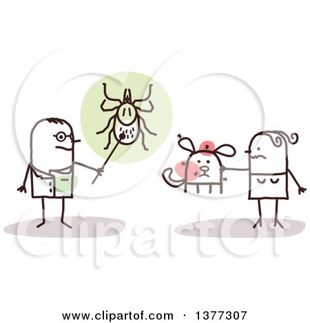 Clipart of a Stick Male Doctor or Veterinarian Discussing Ticks with a Woman and Her Dog - Royalty Free Vector Illustration by NL shop