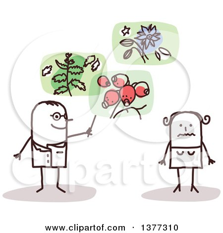 Clipart of a Stick Male Doctor Discussing Plants for Treatment with a Female Patient - Royalty Free Vector Illustration by NL shop
