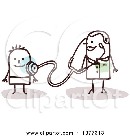 Clipart of a Stick Female Pediatric Doctor with a Boy Patient - Royalty Free Vector Illustration by NL shop