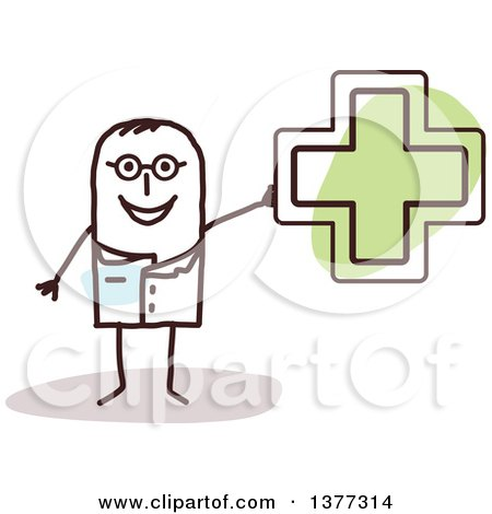 Clipart of a Stick Male Naturopathic Doctor Holding a Green Cross - Royalty Free Vector Illustration by NL shop