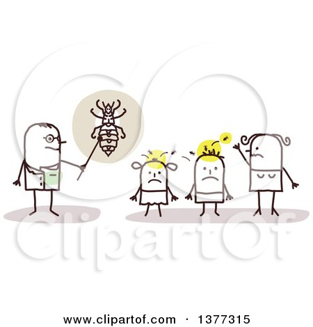 Clipart of a Stick Male Doctor Discussing Head Lice with a Family - Royalty Free Vector Illustration by NL shop