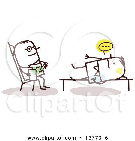 Clipart of a Stick Male Doctor Listening to a Patient in a Counseling Session - Royalty Free Vector Illustration by NL shop