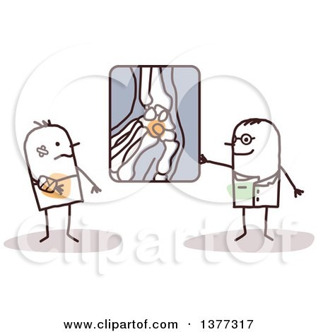 Clipart of a Stick Male Radiologist Doctor Showing a Patient an X Ray of His Broken Wrist - Royalty Free Vector Illustration by NL shop