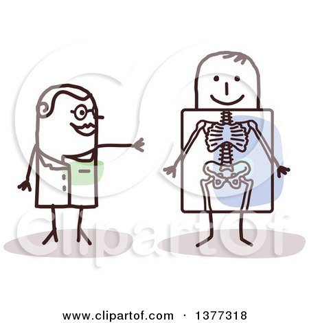 Clipart of a Stick Female Radiologist Doctor Discussing an X Ray with a Patient - Royalty Free Vector Illustration by NL shop