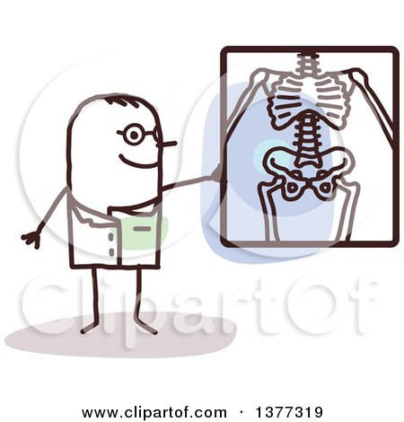 Clipart of a Stick Male Radiologist Doctor Discussing an X Ray - Royalty Free Vector Illustration by NL shop