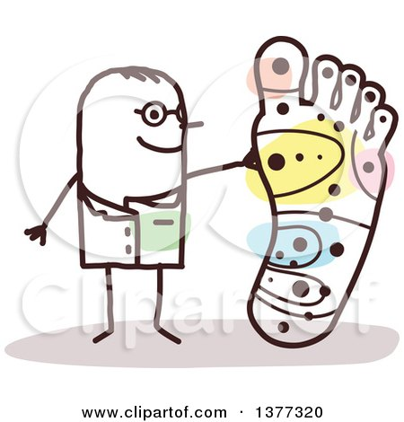 Clipart of a Stick Male Doctor Discussing Foot Reflexology - Royalty Free Vector Illustration by NL shop