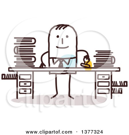 Clipart of a Stick Business Man Stamping Documents at a Desk - Royalty Free Vector Illustration by NL shop