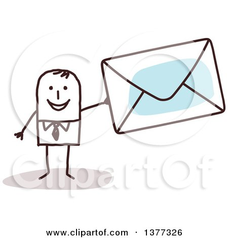 Clipart of a Stick Business Man Holding an Envelope - Royalty Free Vector Illustration by NL shop