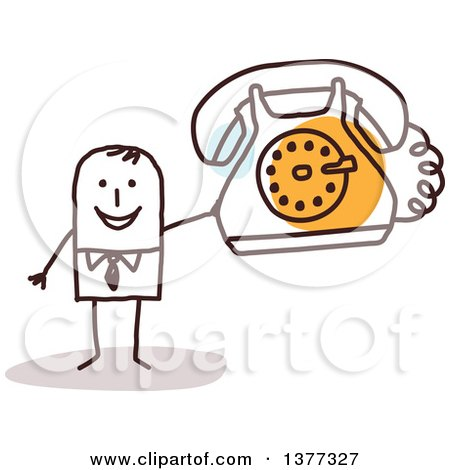 Clipart of a Stick Business Man Holding a Landline Telephone - Royalty Free Vector Illustration by NL shop