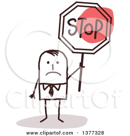 Clipart of a Sad Stick Business Man Holding a Stop Sign - Royalty Free Vector Illustration by NL shop