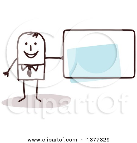 Clipart of a Stick Business Man Holding a Blank Sign - Royalty Free Vector Illustration by NL shop