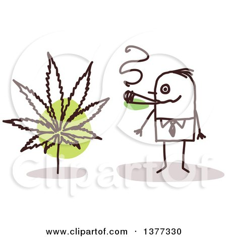 Clipart of a Stick Business Man Smoking Pot - Royalty Free Vector Illustration by NL shop