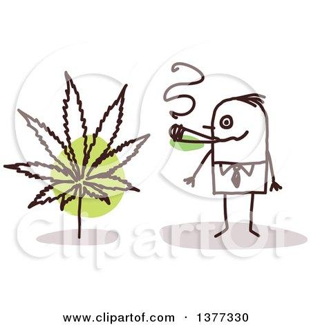 Stick Business Man Smoking Pot Posters, Art Prints