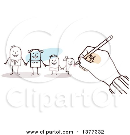 Clipart of a Hand Drawing a Stick Business Man and His Family - Royalty Free Vector Illustration by NL shop