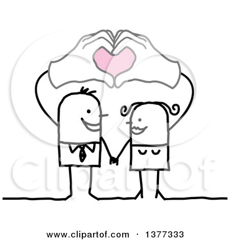 Clipart of a Stick Business Man and His Wife Holding Their Hands Above Their Heads, Forming Hearts - Royalty Free Vector Illustration by NL shop