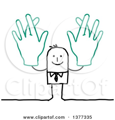 Clipart of a Stick Business Man Holding up Big Hands with Crossed Fingers - Royalty Free Vector Illustration by NL shop