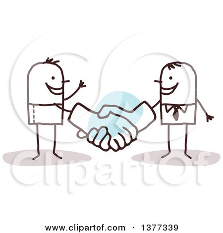 Clipart of a Stick Business Man Shaking Big Hands with a Client - Royalty Free Vector Illustration by NL shop