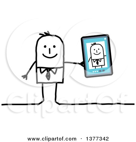 Clipart of a Stick Business Man Showing a Selfie Picture on a Smart Phone or Tablet - Royalty Free Vector Illustration by NL shop