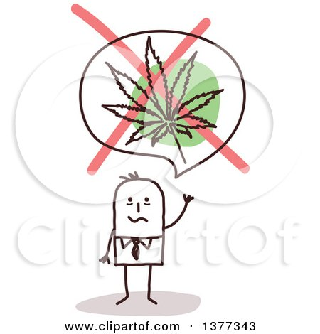 Clipart of a Stick Business Man Waving Under a No Marijuana Leaf Symbol - Royalty Free Vector Illustration by NL shop