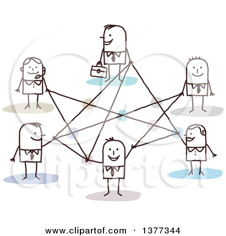 Clipart of a Stick Business People Connected in a Network - Royalty Free Vector Illustration by NL shop