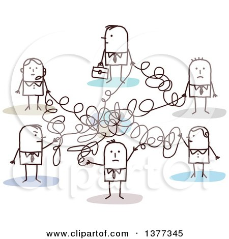 Clipart of a Stick Business People Connected in a Messy Network - Royalty Free Vector Illustration by NL shop