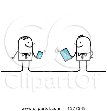 Clipart of Stick Business Men Holding a Phone and a Tablet Connected to Wifi - Royalty Free Vector Illustration by NL shop