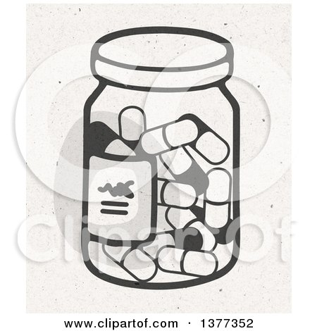 Clipart of a Bottle of Pills on Fiber Texture - Royalty Free Illustration by NL shop