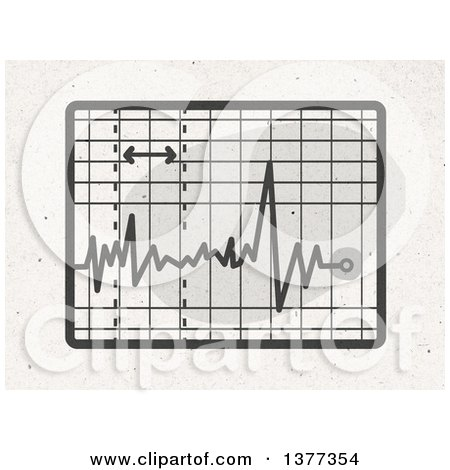 Clipart of a Screen with an Electrocardiogram on Fiber Texture - Royalty Free Illustration by NL shop