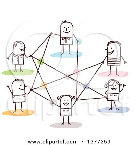Clipart of a Stick People Connected in a Network - Royalty Free Vector Illustration by NL shop