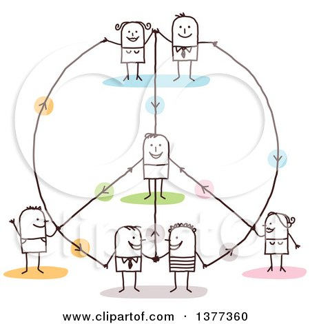 Clipart of a Stick People Connected in a Peace Shaped Network - Royalty Free Vector Illustration by NL shop