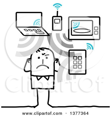 Clipart of a Stick Man Being Exposed to Too Many Wifi Waves - Royalty Free Vector Illustration by NL shop