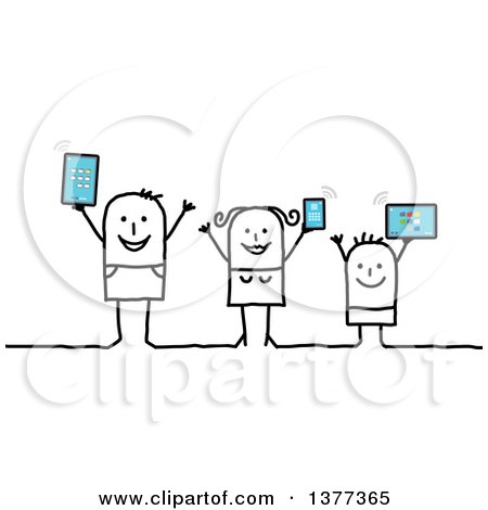 Clipart of a Happy Connected Stick Family Holding up Tablet Computers and a Smart Phone - Royalty Free Vector Illustration by NL shop