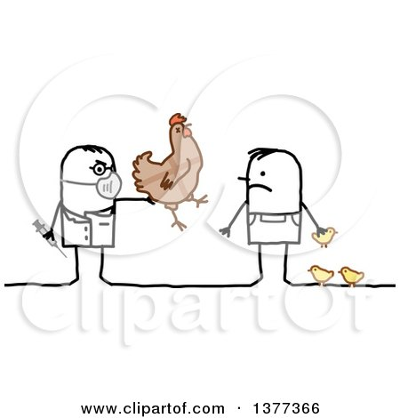Clipart of a Male Stick Veterinarian Vaccinating a Man's Chickens - Royalty Free Vector Illustration by NL shop