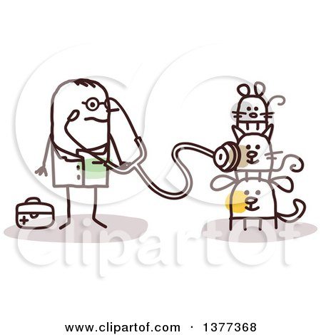 Clipart of a Stick Male Veterinarian Examining Pets - Royalty Free Vector Illustration by NL shop