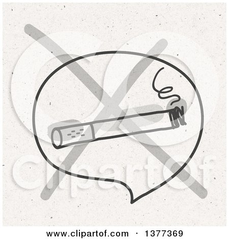 Clipart of a No Smoking Cigarette Sign on Fiber Texture - Royalty Free Illustration by NL shop