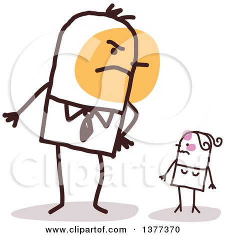 Big Stick Husband Glaring at His Small Wife Posters, Art Prints
