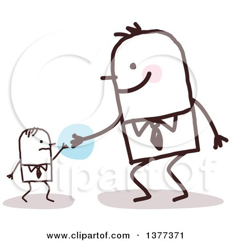 Clipart of a Big Stick Man Helping a Small Man - Royalty Free Vector Illustration by NL shop