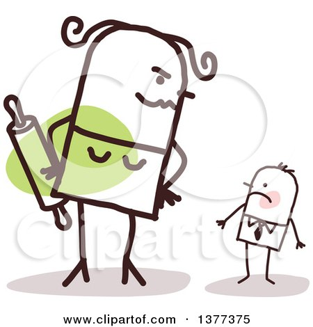 Clipart of a Big Stick Wife Glaring at Her Small Husband - Royalty Free Vector Illustration by NL shop
