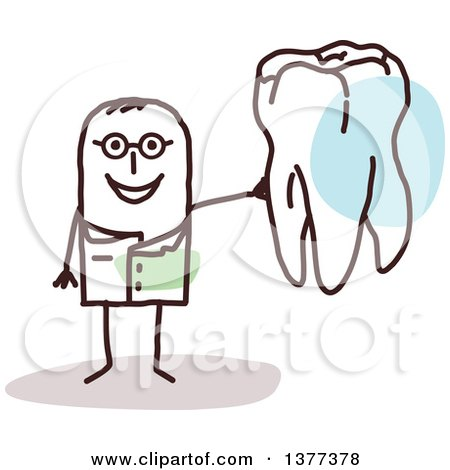 Clipart of a Male Stick Dentist Holding a Tooth - Royalty Free Vector Illustration by NL shop
